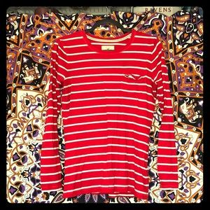 Red Long-sleeved striped Hollister shirt.
